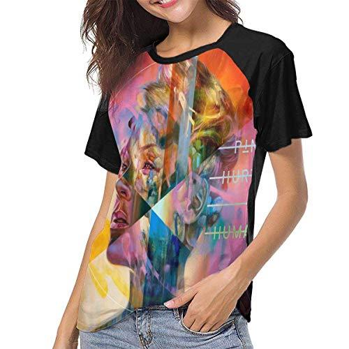 HuXiHuXiHu Kurzarmshirt, P!nk Woman Short Sleeves T-Shirt Summer New Baseball Shirt Home Office Black