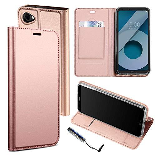 Ycloud PU Cuero Funda para LG Q6 Plus Gama Alta Negocios Flip Billetera Soporte Función con Ranuras Diseño Rose Gold Carcasa para LG Q6