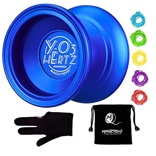 MAGICYOYO Y03 Hertz Professional Unresponsive Yoyo Long Spinning Yoyo with Glove, Yoyo Bag and 5 Replacement Yoyo Strings-Blue