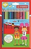 Matita colorata - STABILO color - Astuccio da 18 (15 base + 3 fluo) - Colori assortiti
