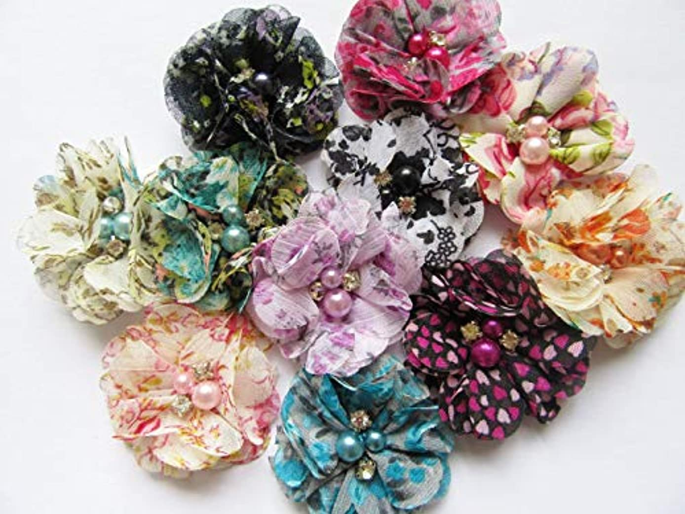 YYCRAFT Pack Of 20 Pieces Floral Chiffon 2