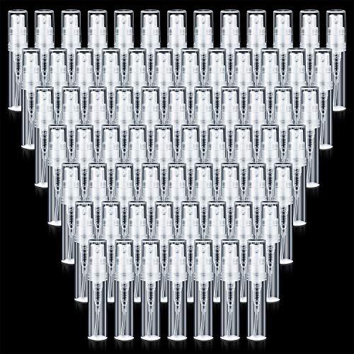 80 Mini Botellas de Spray de Viaje Transparentes Contenedor de Botella Vacía Rellenable Botella de Atomizador de Perfume de Plástico con Tapas para Aceites Esenciales Perfume de Viaje