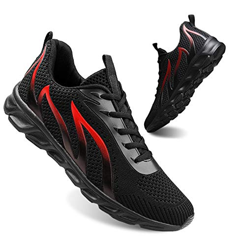 Mens All Black Running Tennis Walking Work Shoes Size 11 Comfortable Gym Athletic Sport...