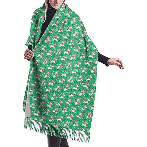 Elaine-Shop Christmas Holidays Unni-ccorn Rainbow Tree Doodle On Green Scialle piccolo avvolgere Sciarpa calda invernale Sciarpa capo in cashmere Avvolgere