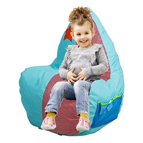 Livebest Kids Bean Bag Chair,Child Floor Chair Couch Lazy Lounger Memory Foam Sofa with Dirt-Proof Oxford Fabric&Side Pocket for Kids Age 2 and Up,21.7x17.7x33.5
