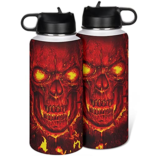 Haythan Taza de café, termo deportivo, diseño de calavera, acero rojo, para bebidas calientes y frías, color blanco, 1000 ml