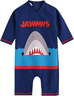 BestBang Boys One Pieces Shark Short Sleeve Swimwear With Sunscreen Cap
