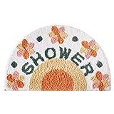 RIZMA Alfombra de baño, Alfombra de baño semicircular, Alfombra de baño Lavable, Alfombra de baño Suave, Microfibra Antideslizante, Lavable a máquina, Alfombra de baño- Naranja