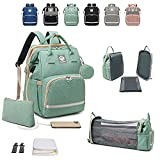 NEENUX Diaper Bag with Changing Station - 3 in 1 Baby Bag Diaper Backpack, Detachable Crib, Travel Bassinet Foldable Baby Bed, Portable Changing Pad, Backpack Diaper Bags for Baby Girl/Boy, Stroller Straps, Green, Large