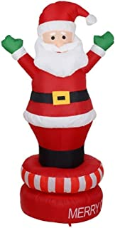 """HOBBMS Santa Claus Lighted Christmas Inflatable Standing On Rotating Self-Inflating """"Merry Christmas"""" Base LED Lights Halloween, Lawn Garden Party, Birthday Party Outdoor Activities 180cm"""