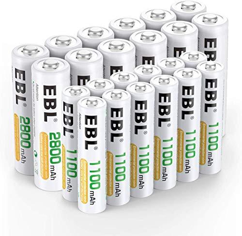 EBL 24pcs 1.2V AA AAA Ni-MH Batterie Ricaricabili Combinate, Confezione 12 X 2800mAh AA Pile Ricaricabili & 12 X 1100mAh AAA Pile Ricaricabili
