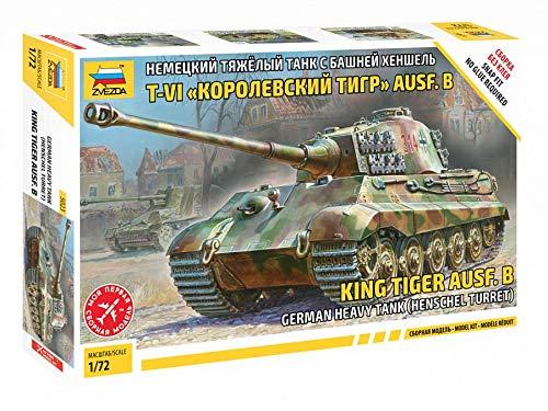 Zvezda King Tiger 500785023 500785023-1:72 - Maqueta de construcción de plástico para Principiantes, diseño de Camuflaje
