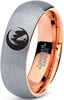 Crescent Moon Howling Wolf Forest Trees Engraved Ring - Tungsten Band 8mm - Men - Women - 18k Rose Gold Step Bevel Edge - Yellow - Grey - Blue - Black - Brushed - Polished - Wedding - Gift Dome Flat
