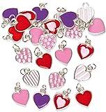 Baker Ross Adornos Charms con Forma de Corazón Perfectos Para Crear Pulseras y Collares Infantiles para el Día de San Valentín o el Día de la Madre (Pack de 24)