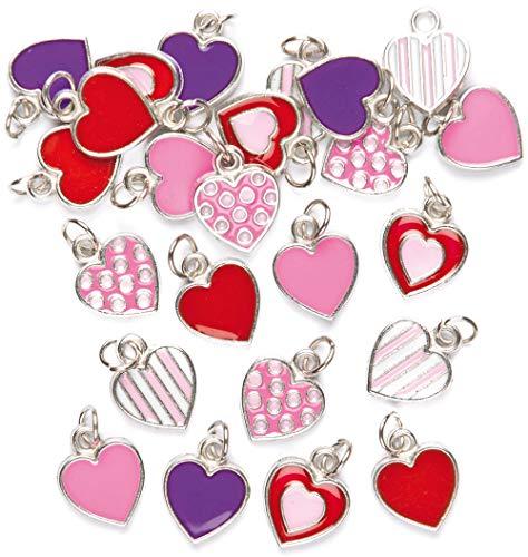 Baker Ross Adornos Charms con Forma de Corazón Perfectos Para Crear Pulseras y Collares Infantiles para el Día de San Valentín o el Día de la Madre (Pack de 24), colores surtidos.