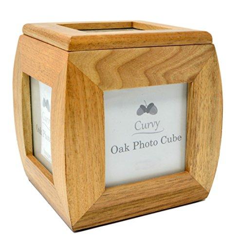 Cubo de madera maciza de roble con marco de fotos