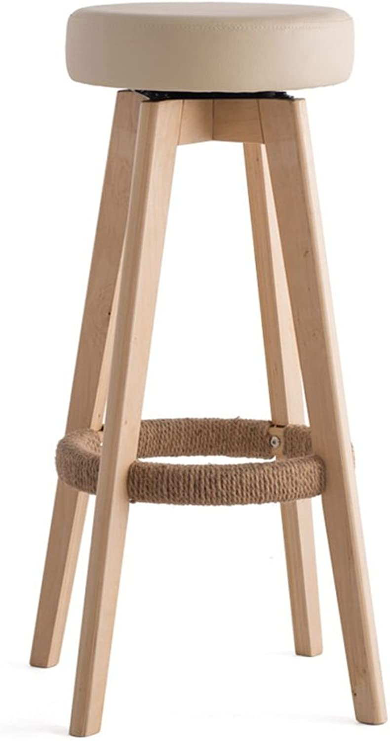 Wooden Round Chair High Stool Breakfast Stool Barstool Kitchen Home & Commercial redatable Creative Concise Style Beige