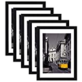 eletecpro 12x16 Picture Frames Set of 5,Display 8x10 or 11x14 Photo Frame with Mat or 12x16 Without Mat,Wall Gallery Poster Frames,Table Top Display or Wall Mounting