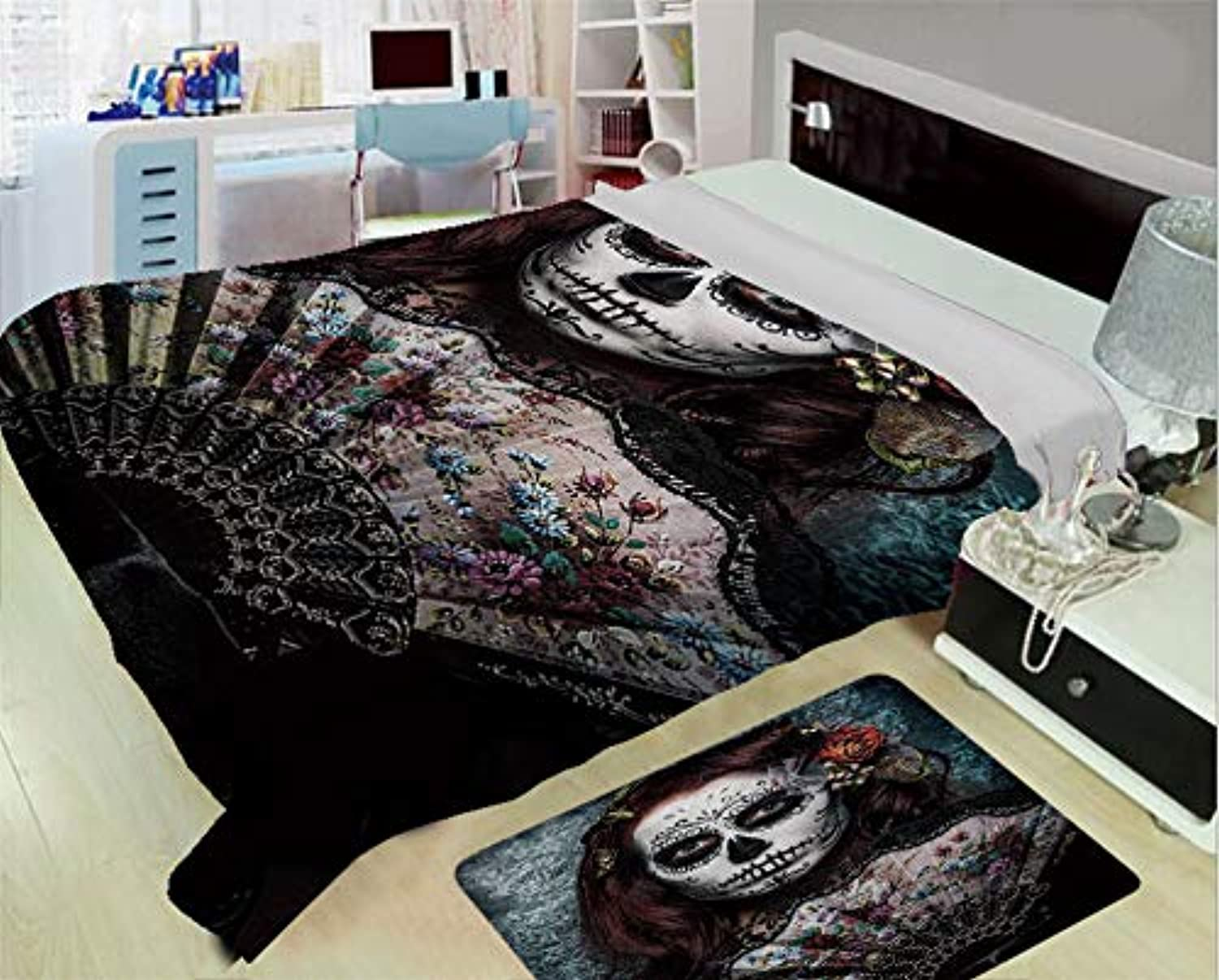 Creative Flannel Blanket for Home Warming,Day of The Dead Decor,Make up Artist Girl with Dead Skull Scary Mask pinks Print,Cadet bluee Maroon,One Side Printing,Excess Value