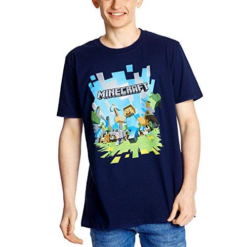 Minecraft Adventure T-Shirt großer Frontdruck dunkelblau für Gaming Fans - XXL