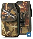 AH Heavy Duty Cell Phone Holster, Hunting Camo Phone Pouch Carrier S5 Belt Clip Phone Belt Holder with Loops Belt Clips for Holsters Fits iPhone 6 7 8 11 Galaxy S8 S9 S10 w/ Thick Case (Medium)