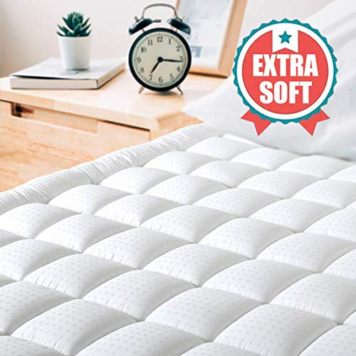 "MAEVIS King Size Mattress Pad Cover Cooling Soft Mattress Topper, Bed Protector Hypoallergenic Down Alternative Fill Cotton Pillow Top (8-21"" Fitted Deep Pocket)"
