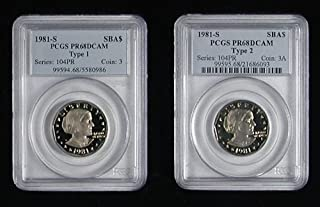 1981-S TYPE 1 & TYPE 2 SUSAN B ANTHONY PCGS PROOF 68 DEEP CAMEO 2 COIN SET