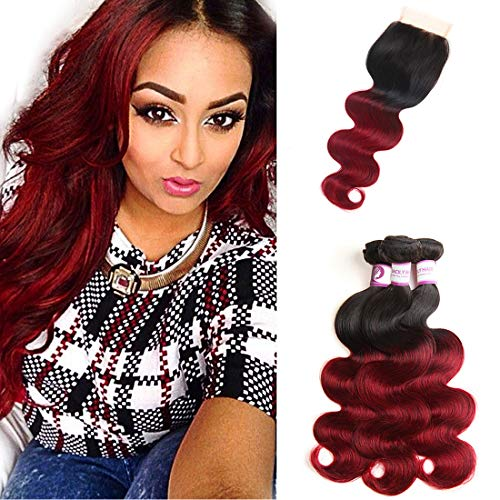 RACILY 1B Burgundy Ombre Bundles with Closure, 10A Brazilian Body Wave Hair 3 Bundles with Lace Closure, 4x4 Inches Dark Red 99J Closure, Claret Wine Red Human Hair (18' 20' 22' & Closure 16')