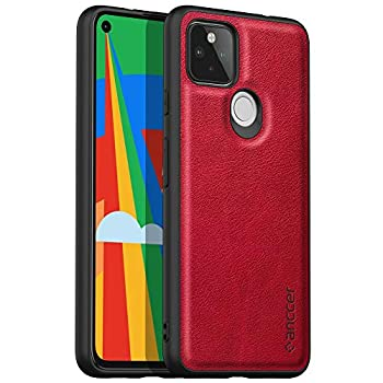 Latagui Compatible with Google Pixel 5A 5G Case [Drop-Proof Protection] [Anti-Slip Surface] Soft and Slim Full Cover Leather Case for Google Pixel 5A 5G  Red
