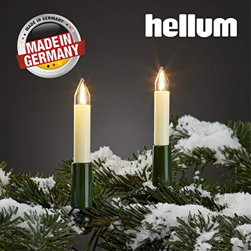 Hellum Lichterkette außen / 30 Filament warm-weiß Schaftkerzen/Länge 29 m + 2x1,5 m Zuleitung, schwarzes Gummi-Kabel/Fassungsabstand 100 cm/teilbarer Stecker/Weihnachten / 846003