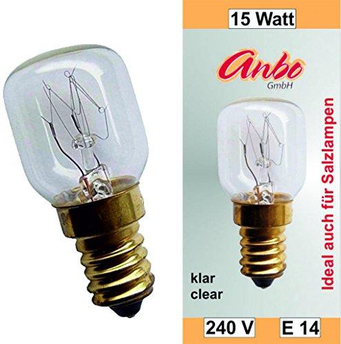 2 Stück E14-15 Watt Spezial-Leuchtmittel für Salzlampe und Kühlschrank