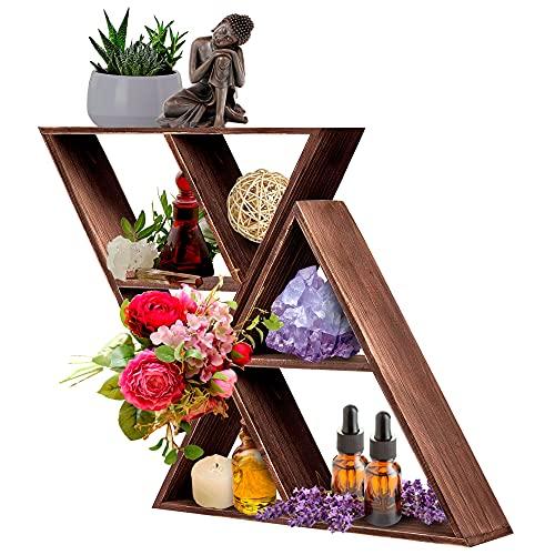 Triangle Shelf: Wall Display for Crystals, Stones, Knick Knacks | Geometric Shelf | Farmhouse Rustic Home Decor | Meditation Shelves | Floating Shelves for Living Room | Wooden Crystal Holder Storage