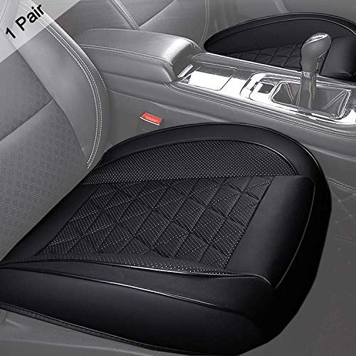 Big Ant 2 Pack Car Seat Covers, Edge Wrapping 1 Pair Luxury PU Leather Car Front Seat Cushions Bottom Protectors Pad for 90% Vehicles Sedan SUV Truck Van MPV(Black)
