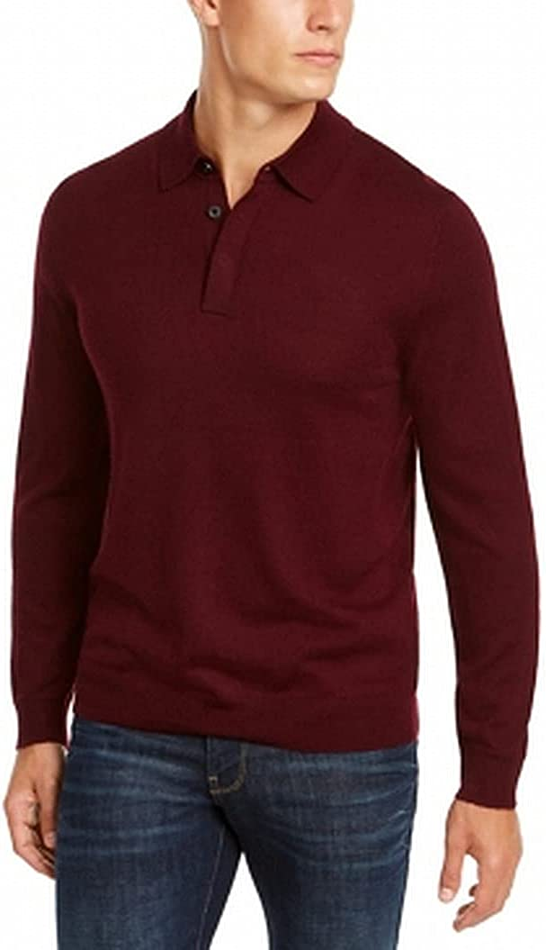 Club Room Mens Polo Sweater Plum Pullover Solid Regular-Fit Red XL
