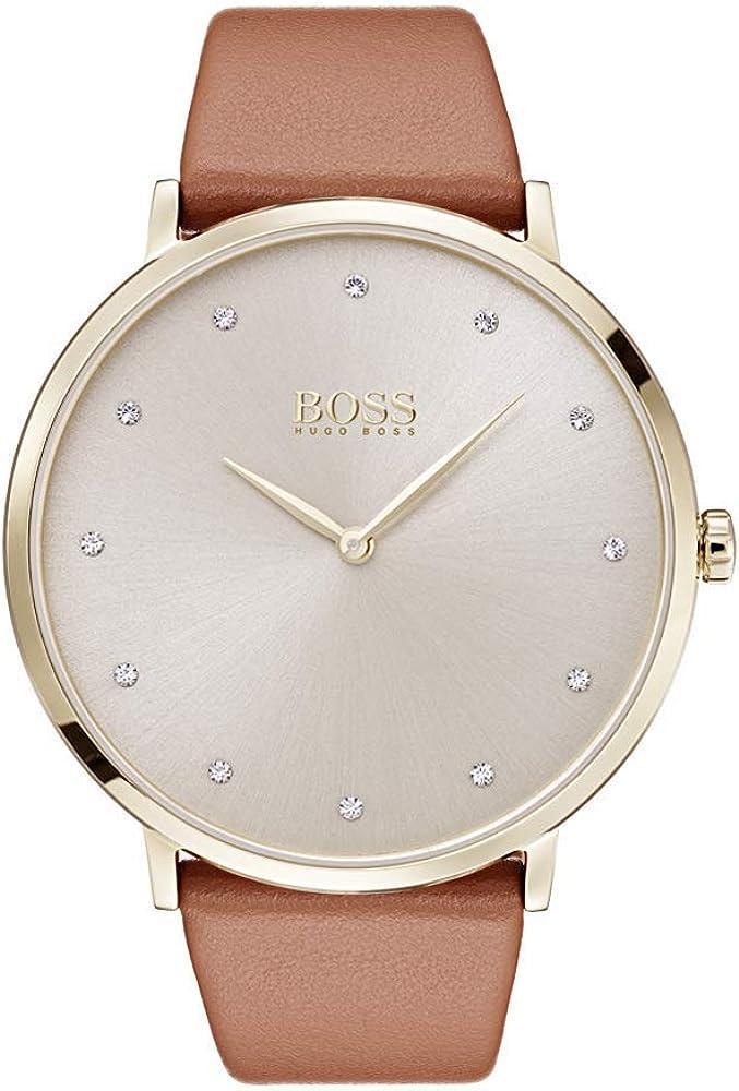 Hugo boss,  orologio classico per donna,con cassa in acciaio e cinturino in vera pelle 1502411