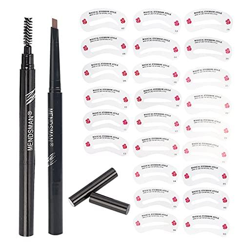 Kit de 24 pochoirs de sourcils réutilisables, 1 crayon à sourcils pour débutants et professionnels (Eyebrow Pencil + eyebrow template (Eyebrow pencil + eyebrow template (Light brown))