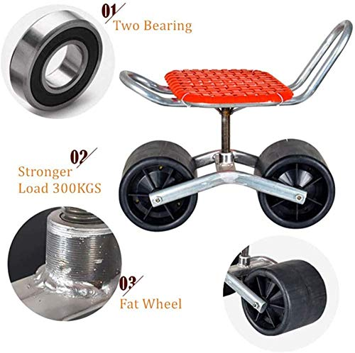 FMXYMC Portable Garden Stool, Moving Chair with Wheels, Patio Rolling Work Seat, Garden Cart Tool, 360-Degree Rolling Work Seat, for Weeding/Gardening/Outdoor Lawn Care