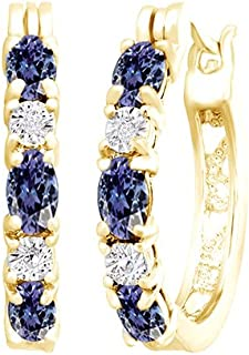 Blue Simulated Tanzanite and White Cubic Zirconia Hoop Earrings in14k Gold Over Sterling Silver