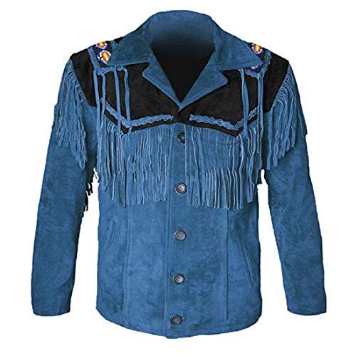 Leatheray Western-Lederjacken für Herren, Cowboy-Lederjacke und Fransen, Perlenmantel, Wildlederhemd - - XX-Large