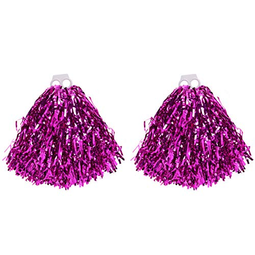 VORCOOL 1 Paar Cheerleader Pompons Metallic Tanzwedel Sport Pompoms Puschel Party Cheer Zubehör (Rosig)