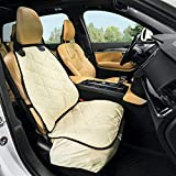 Plush Paws Products Copilot Bucket Car Seat Cover with Seat Belt and Harness (Tan) - USA Based
