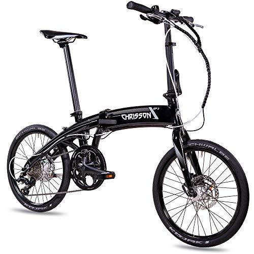 CHRISSON 20 Zoll E-Bike City Klapprad EF3 schwarz - E-Faltrad mit Bafang Nabenmotor 250W, 36V und 45 Nm, Pedelec Faltrad für Damen und Herren, praktisches Elektro Klappfahrrad, perfekt für die Stadt