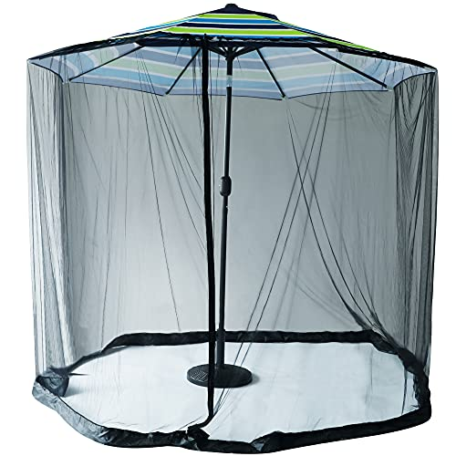 Optimisland Patio Outdoor Sun Umbrella Mosquito Netting, Zippered Canopy Mesh with Adjustable Rope, Fits 7 to 9 FT Outdoor Umbrellas and Tables