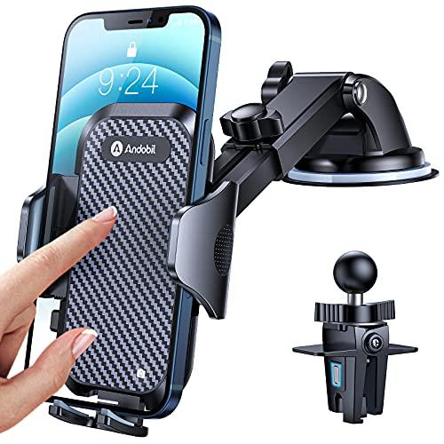 Andobil Soporte Móvil Coche [Súper Estable&Robusto] 3 en 1 Soporte Movil Coche Ventosa para Salpicadero/Parabrisas/Rejillas, 360° Rotación, Compatible con iPhone 13/12, Samsung, Xiaomi y Más
