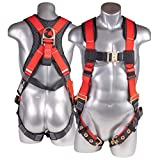 ATERET Fall Protection 5pt Safety Harness, 3D-ring, Quick-Connect Buckle, Grommet Legs, Sewn in Back Pad I OSHA ANSI Compliant Personal Equipment (Red - Universal)