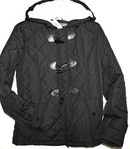 Kenneth Cole REACTION Women's M Black Quilted Duffle Coat with Hood