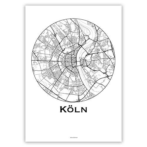 Plakat Köln Deutschland Minimalist Map - Poster, City Map, Dekoration, Geschenk