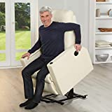 aktivshop Fernsehsessel – Relaxsessel – Komfortsessel mit Aufstehhilfe, Wärmefunktion & Massage || ausklappbarer Seitentisch || inkl. Seitenfach (Creme) - 2