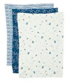 Spasilk 3 Pack 100% Cotton Burp Cloths, Navy Nautical