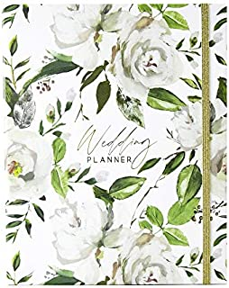 Wedding Planner Book and Organizer for Brides with Gift Box | Engagement Gift for Couples | Hardcover Bridal Planning Journal Notebook | White & Flowers